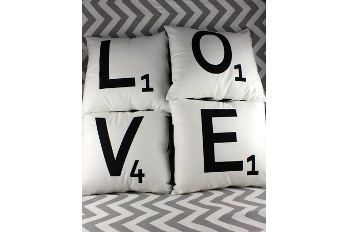 Scrabble Letter Cushions retails for R120 each, by Luvlee Stuff